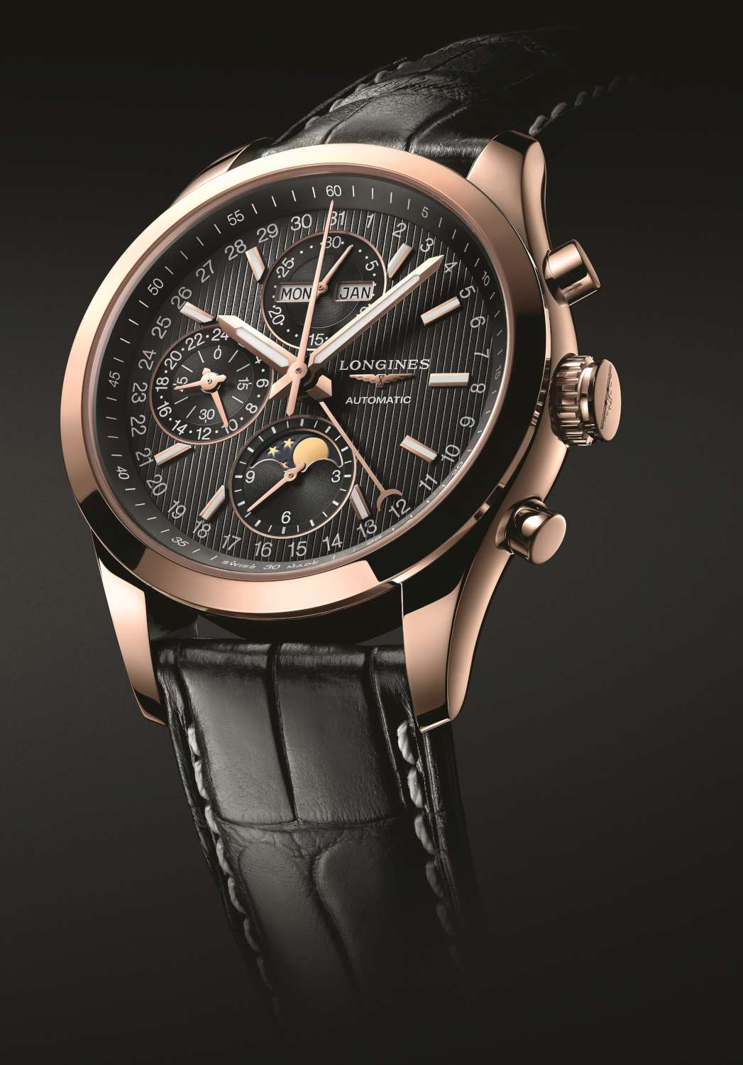 Longines Conquest Classic Moonphase, rose gold, black dial, black alligator strap, L2.798.8.52.3