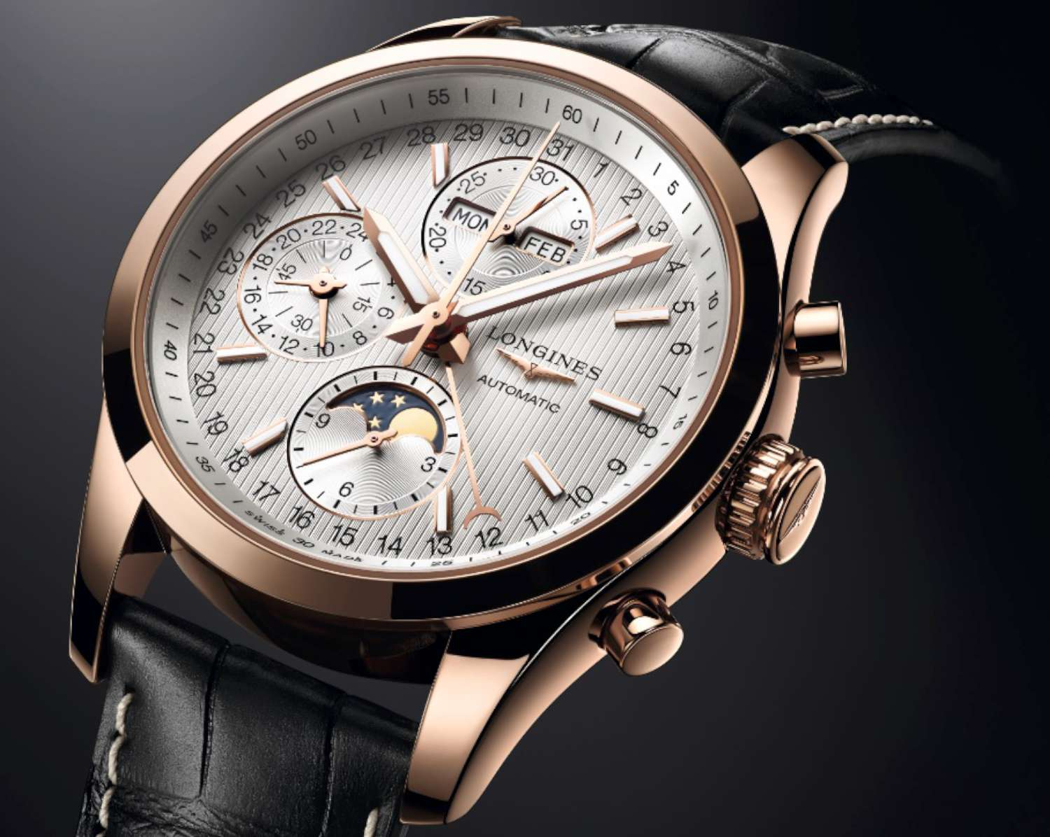 Longines Conquest Classic Moonphase, rose gold case, black alligator strap, L2.798.8.72.3