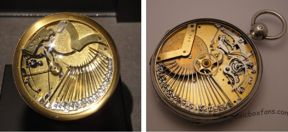 Two historical watches, a piece at the Musée International l'Horlogerie, La Chaux-de-Fonds (left, photo courtesy of watchprosite.com), and another piece, photo courtesy of musicboxfans.com