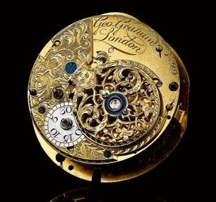 A movement by George Graham, with the decorative motif that appears on the Tourbillon Orrery