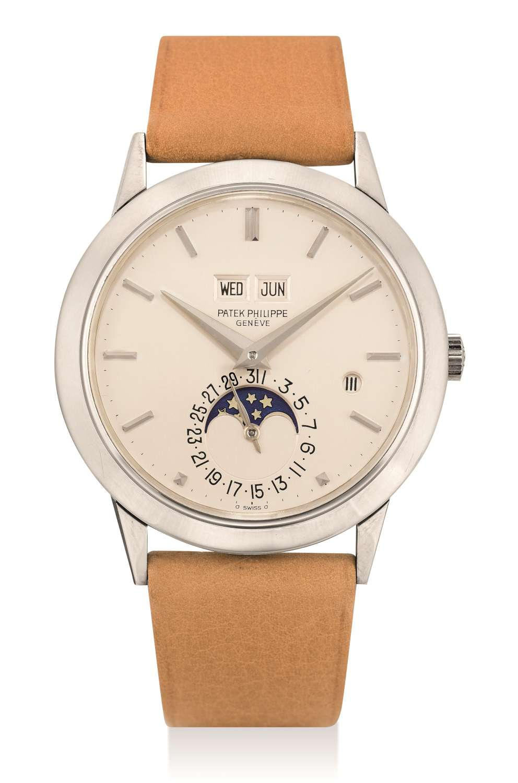 Lot 305_Patek Philippe white gold automatic perpetual calendar wristwatch ref 3450-1500