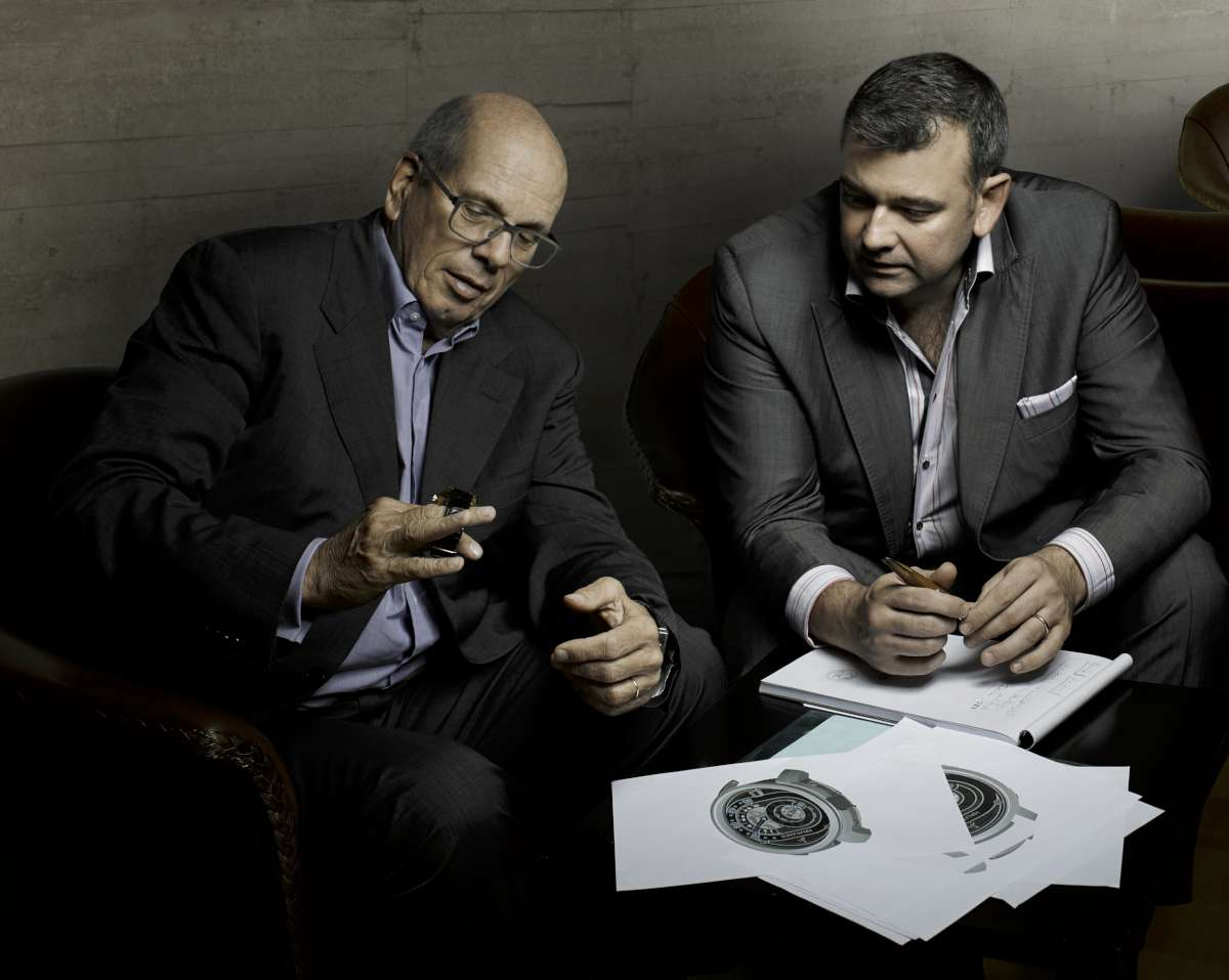 Hautlence, Georges-Henri Meylan, chairman (left) and Guillaume Tetu, co-founder and CEO