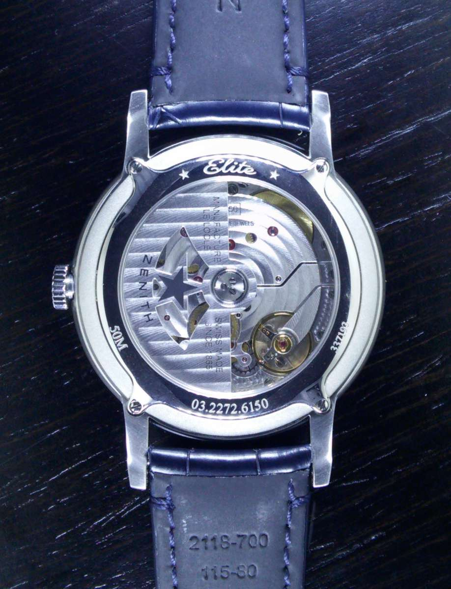 Zenith Elite 6150, stainless steel, caseback