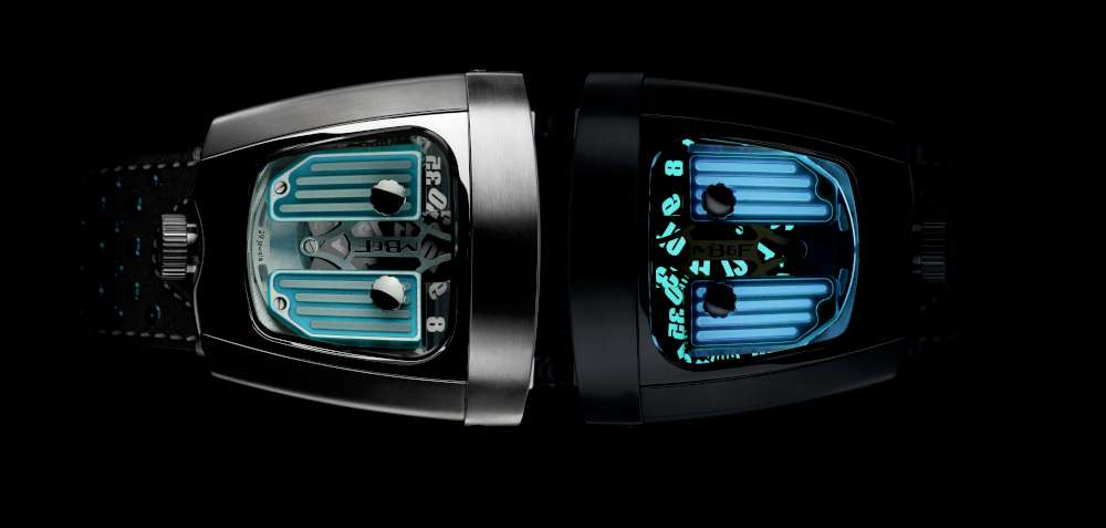 MB&F HMX Black Badger, blue, day and night