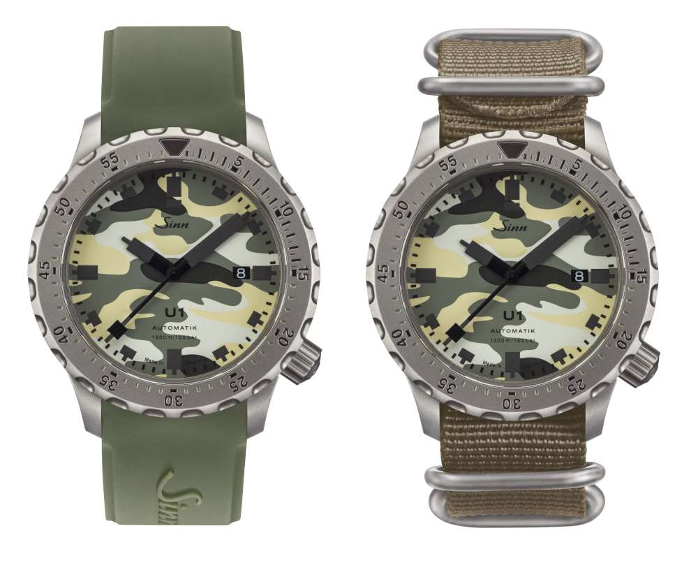 Sinn U1 Camouflage, the two straps provided