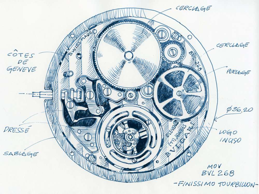 Bulgari Octo Ultranero Finissimo Tourbillon, design sketch