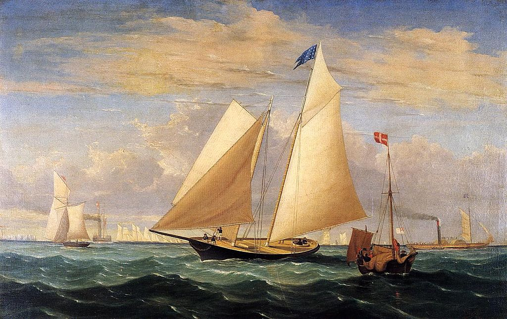 The yacht America winning the International Race in 1851, a painting by Fitz Hugh Lane
