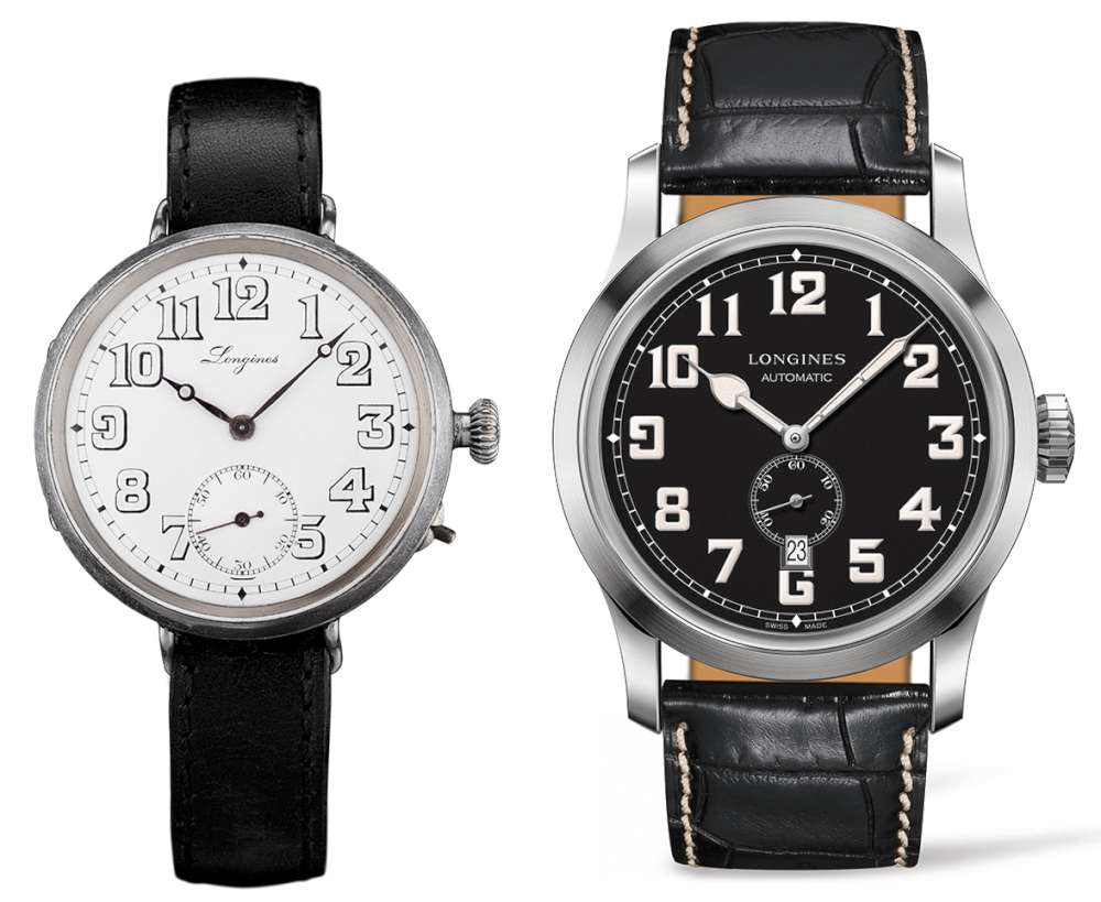 The 1918 Longines watch, and the new Longines Heritage Military