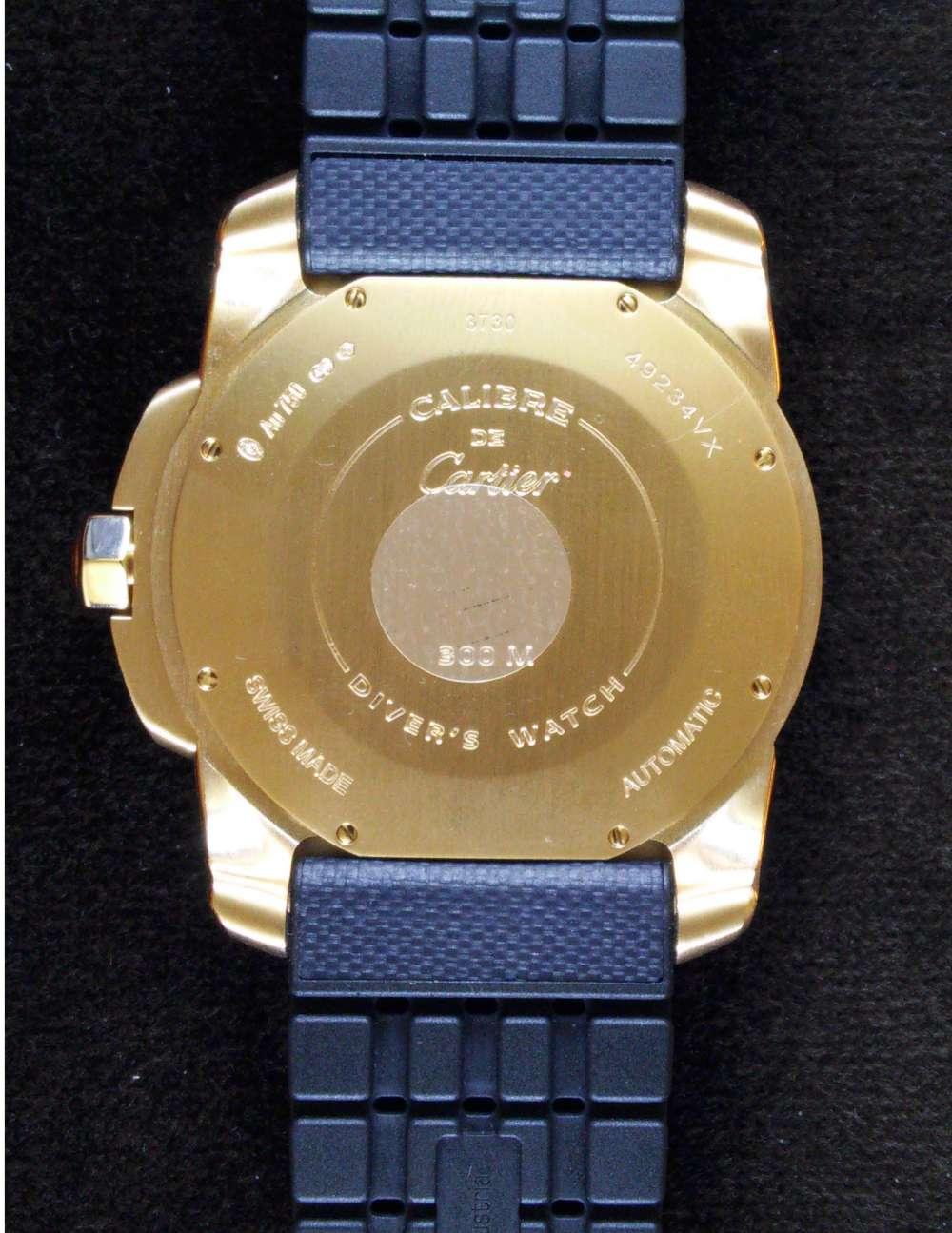 Calibre de Cartier Diver gold caseback