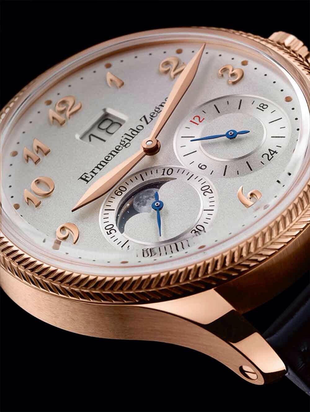 Monterubello Travel watch with Big Date, Moon phase and GMT