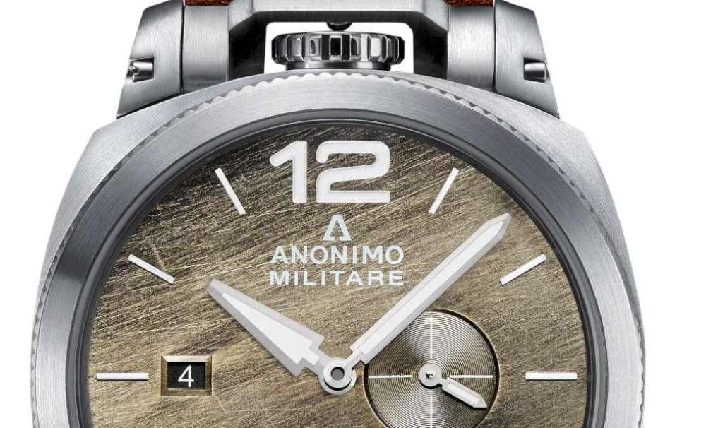 Anonimo Militare, stainless steel, brown dial