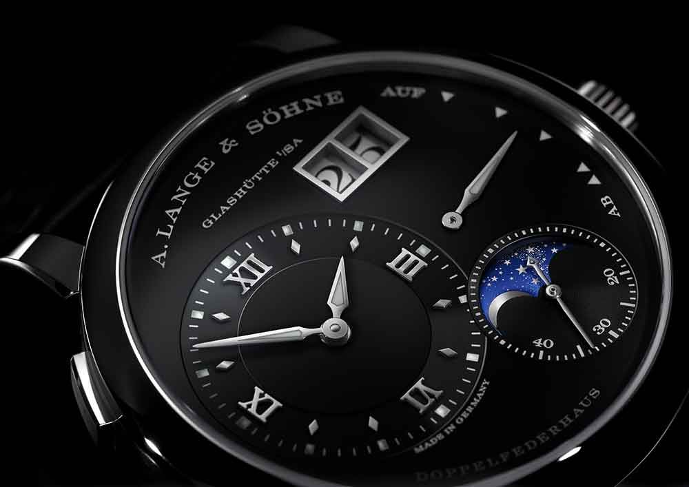A. Lange & Söhne Lange 1 Moon Phase, white gold, black dial