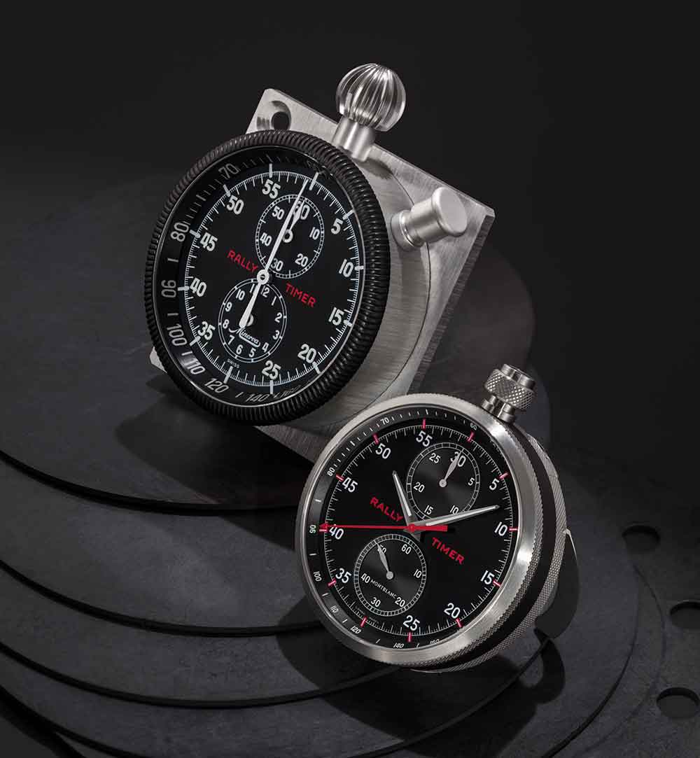 Rally Timer dashboard chronograph by Minerva, 1930 circa, and the new Montblanc Rally Timer