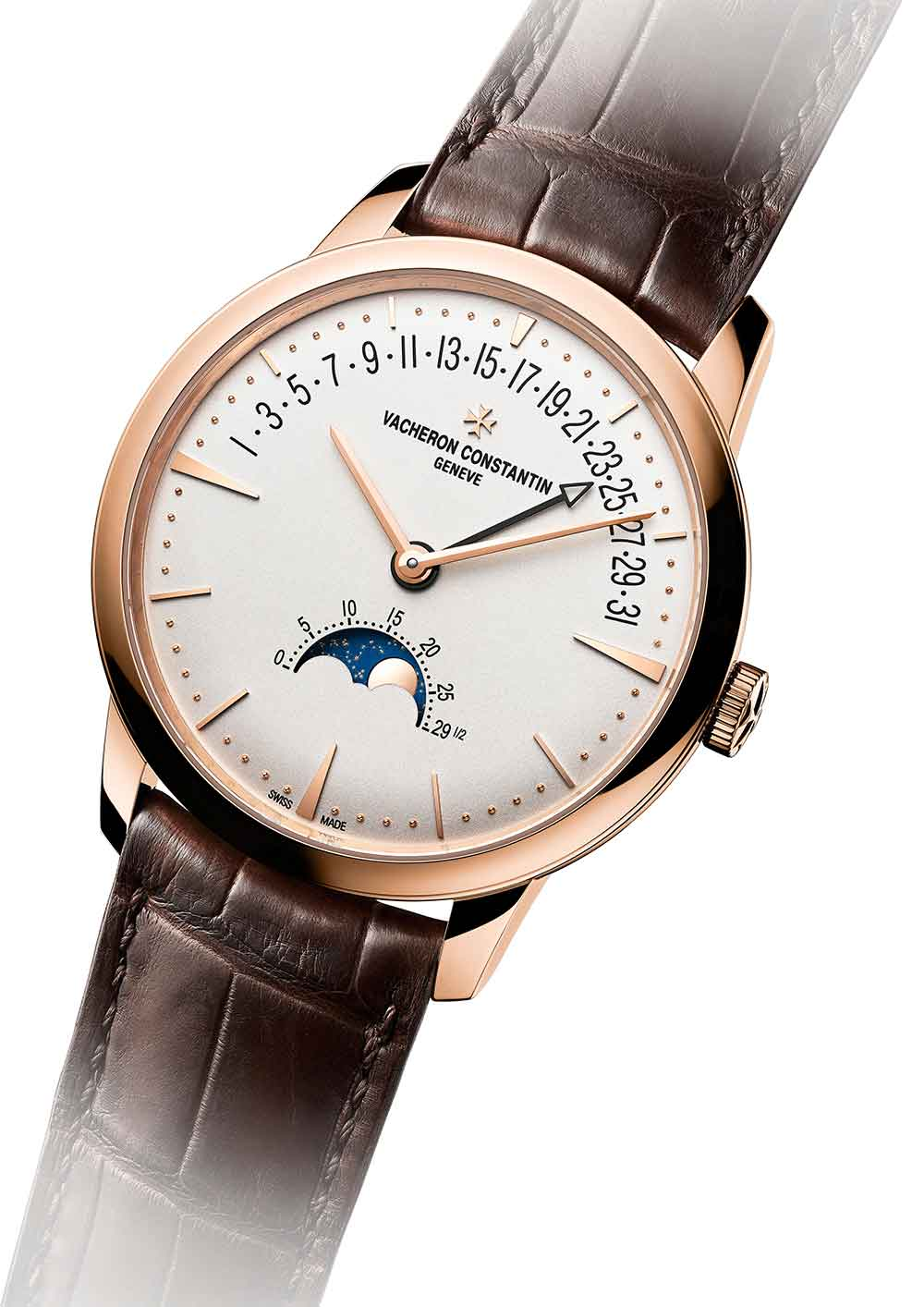 Vacheron Constantin Patrimony Moon Phase and Retrograde Date, pink gold version