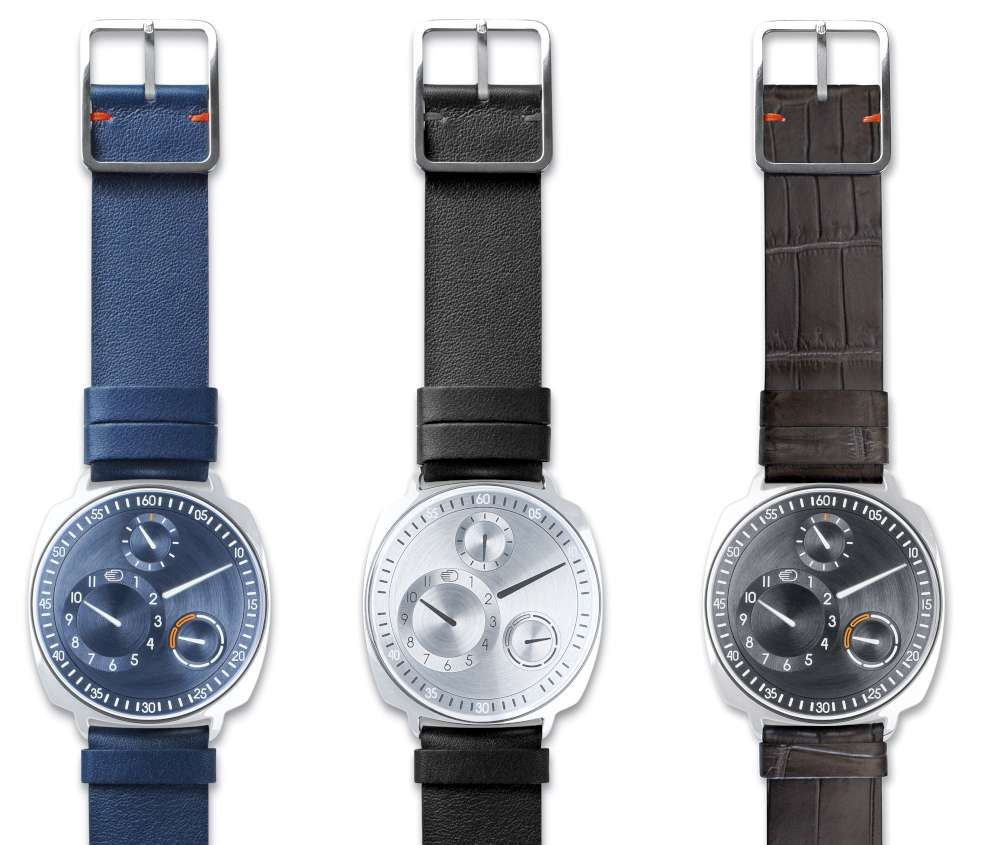 Ressence Type 1 squared, in blue, silver and ruthenium