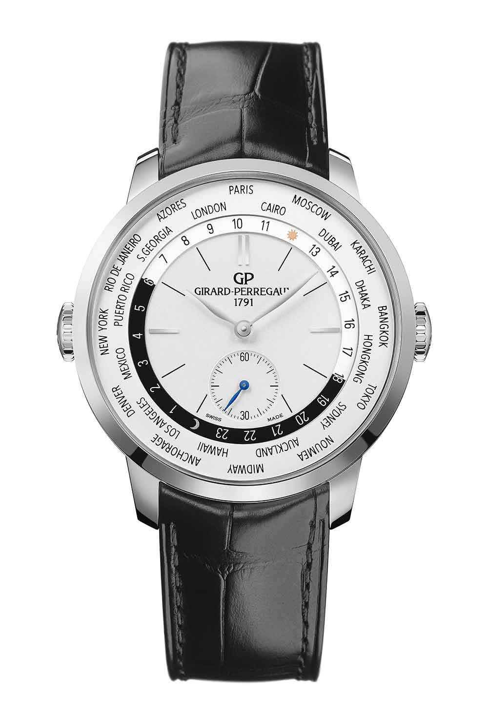 Girard-Perregaux 1966 WW.TC reference 49557-11-132-BB6C in steel with alligator leather strap