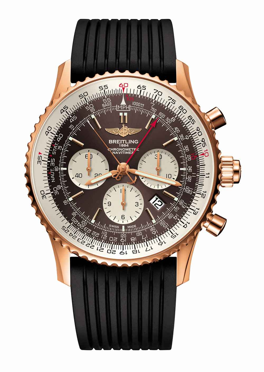 Breitling Navitimer Rattrapante gold, rubber strap