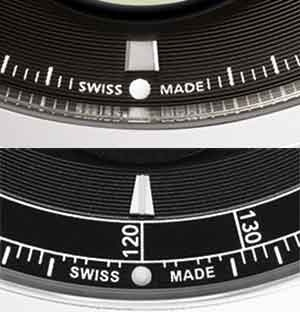 Comparison of the Parmigiani Tonda Métrographe's seconds scale