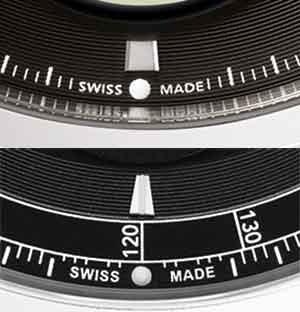 Comparison of the Parmigiani Tonda Métrographe's seconds scale