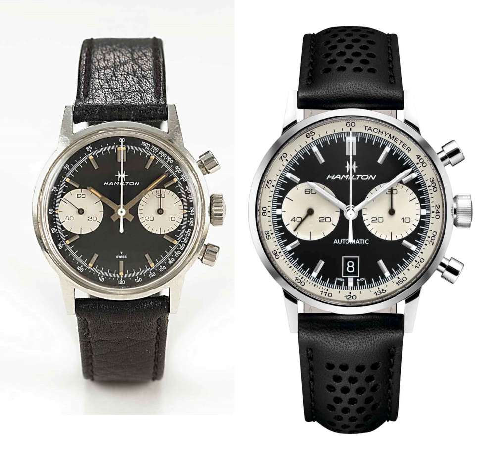 Original 1968 Hamilton Chronograph B and the new Hamilton Intra-Matic 68 Auto Chrono