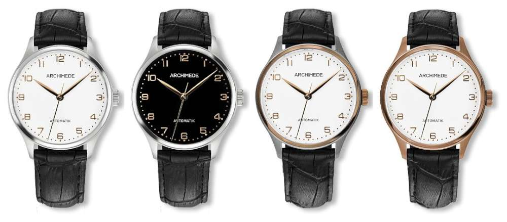 Archimede Klassik 36 BIC dress watch case and dial options