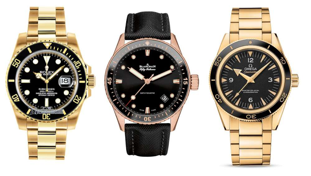Rolex Submariner in yellow gold, 116618LN, Blancpain Fifty Fathoms Bathyscaphe 5000-36S30-B52A in red gold, Omega Seamaster in yellow gold