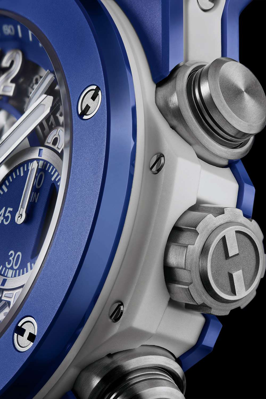 Hublot Big Bang Blue, caseband and spline screw detail