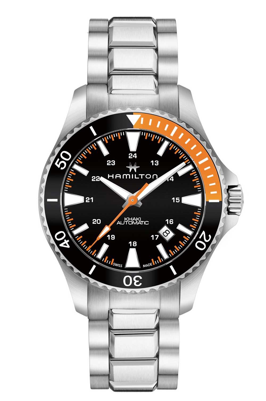 Hamilton Khaki Navy Scuba with bracelet, black and orange dial
