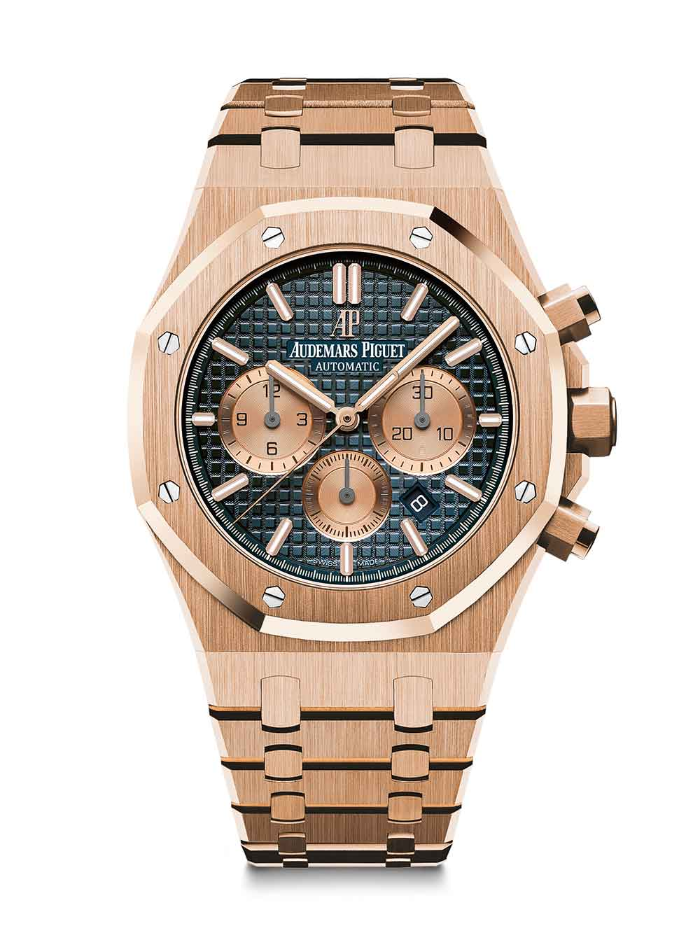 Royal Oak Chronograph, pink gold, blue dial, pink gold bracelet, reference 26331OR.OO.1220OR.01