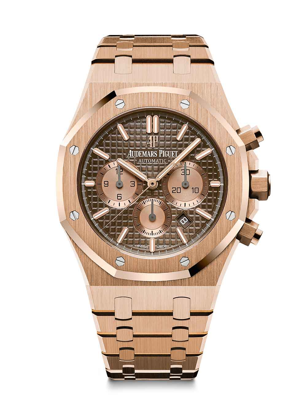 Royal Oak Chronograph, pink gold, brown dial, pink gold bracelet, reference 26331OR.OO.1220OR.02