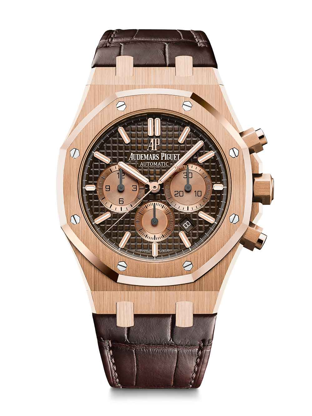 Royal Oak Chronograph, pink gold, brown dial, brown alligator strap, reference 26331OR.OO.D821CR.01