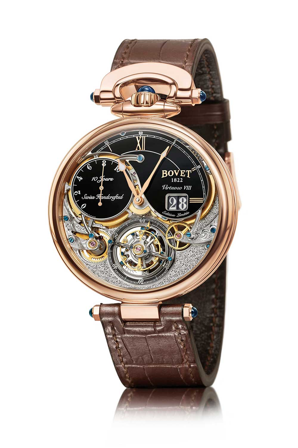 Bovet Virtuoso VIII Flying Tourbillon Big Date, red gold, black dial