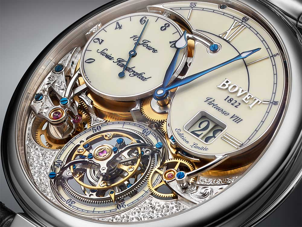 Bovet Virtuoso VIII Flying Tourbillon Big Date dial detail