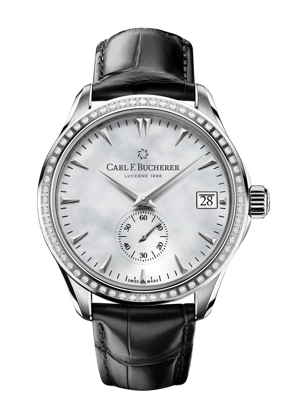 Carl F. Bucherer Manero Peripheral, diamond-set version with white mother-of-pearl dial