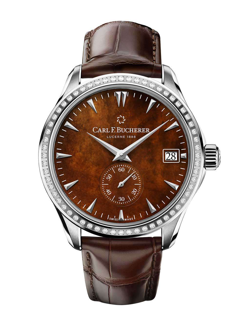 Carl F. Bucherer Manero Peripheral, diamond-set version with brown mother-of-pearl dial
