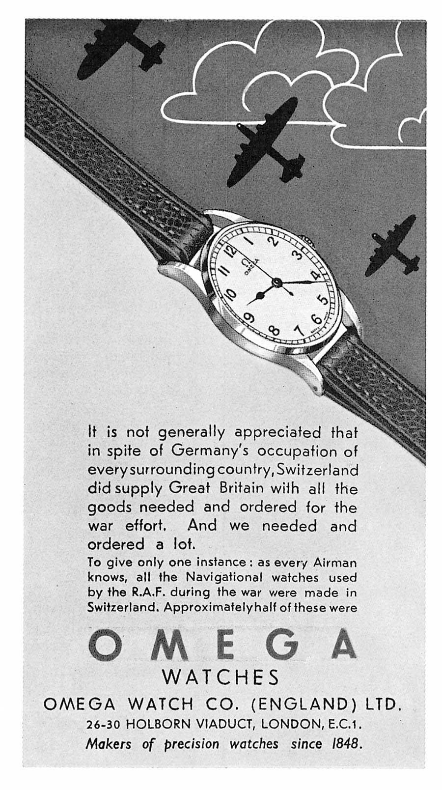Omega advert 1945