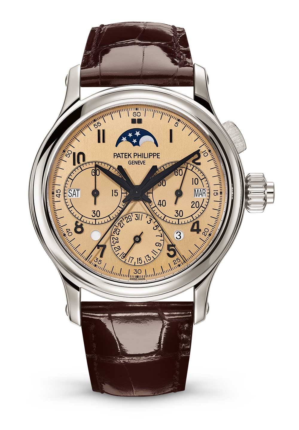 Patek Philippe 5372 split-seconds chronograph and perpetual calendar version with beige dial