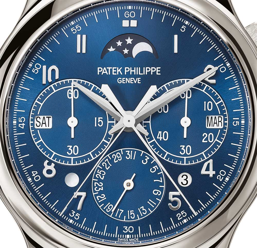 Patek Philippe 5372 split-seconds chronograph and perpetual calendar dial detail