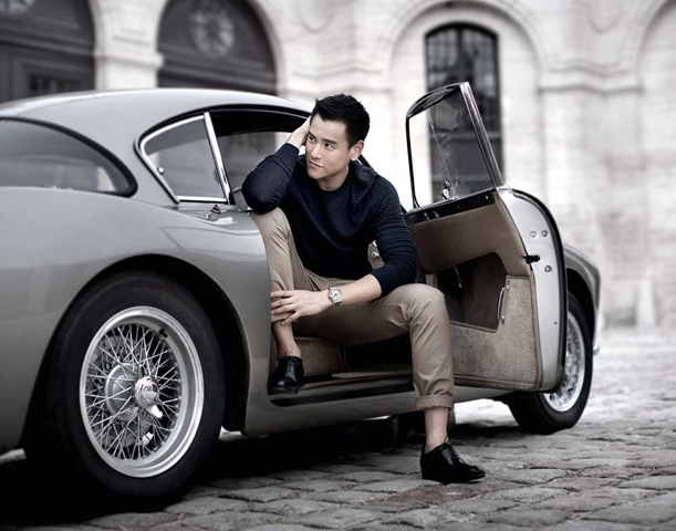 Longines brand ambassador Eddie Peng wearing the Record watch