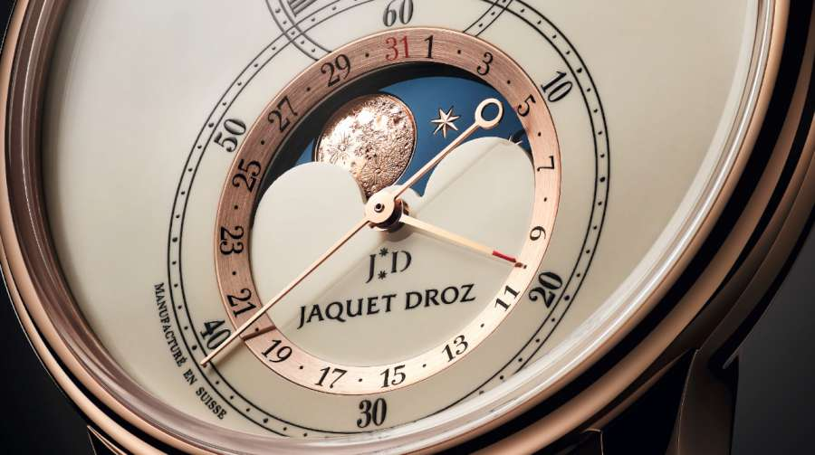 Jaquet Droz Grande Seconde Moon, red gold, moon phase detail