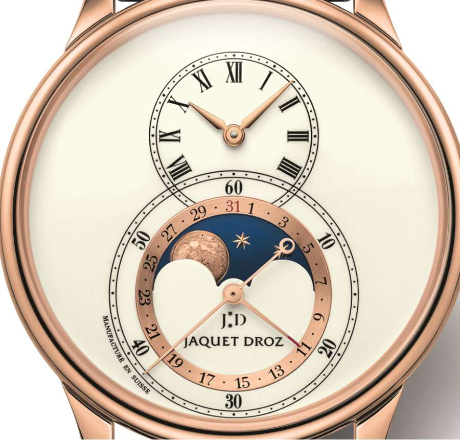 Jaquet Droz Grande Seconde Moon, red gold, dial detail