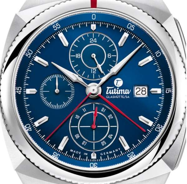 Tutima Glashütte Saxon One Chronograph Royal Blue 6420-05 dial detail