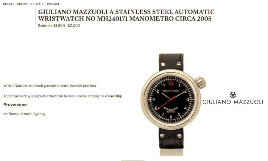 Manometro by Giuliano Mazzuoli, belonging to Russell Crowe