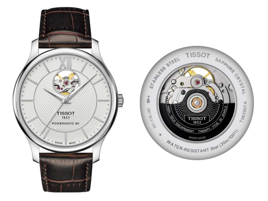 Tissot Tradition Powermatic 80 Open Heart T063.907.16.038.00 front and back
