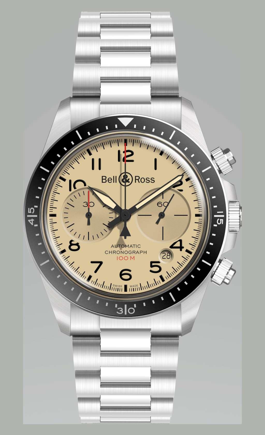 Bell & Ross Military Beige BR V2-94 chronograph steel bracelet
