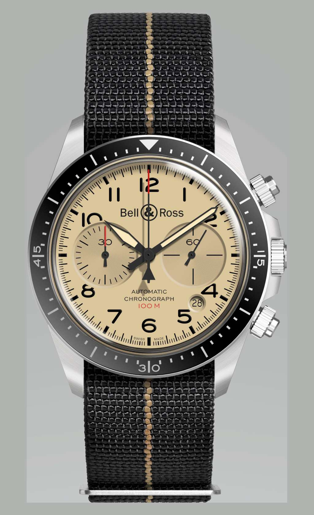 Bell & Ross Military Beige BR V2-94 chronograph Nato strap