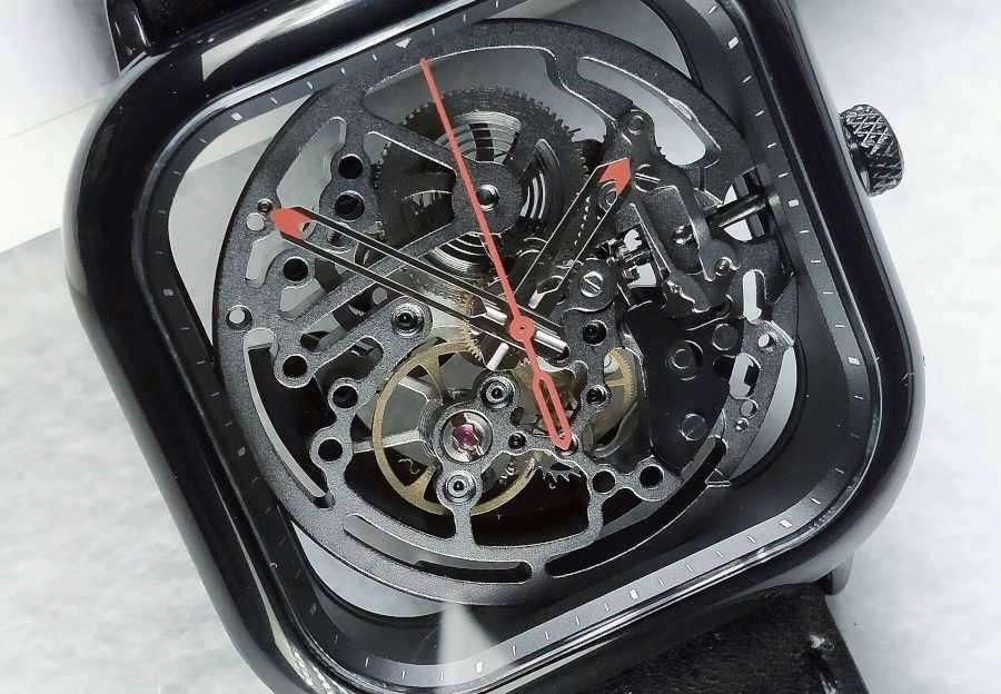 CIGA Design black skeleton watch