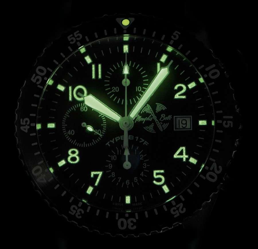 Memphis Belle B17F pilots chronograph lume