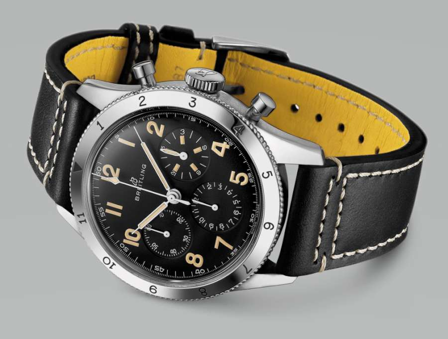 Breitling AVI Ref 765 1953 Re-Edition yellow strap lining