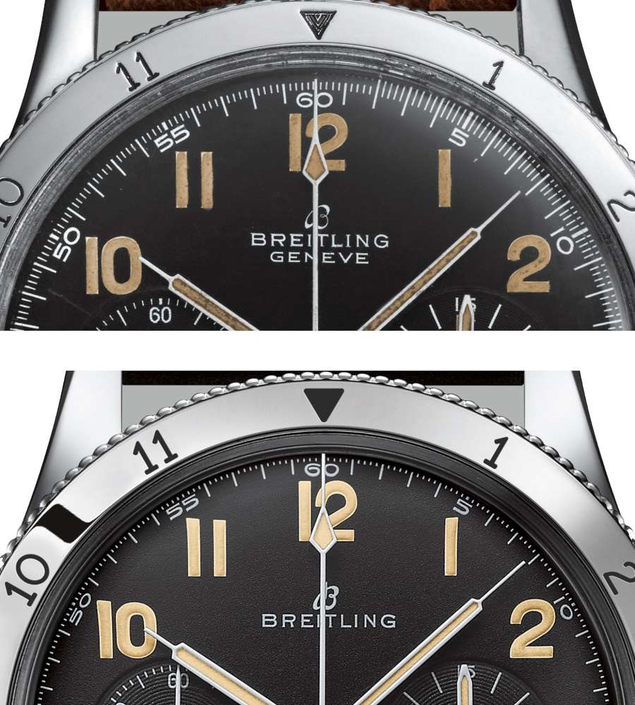Breitling AVI Ref 765 1953 Re-Edition comparison of seconds scale and logo